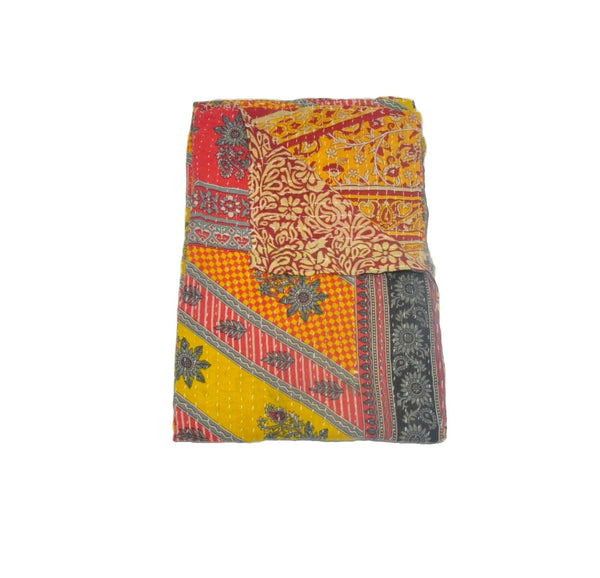 Floral Patchwork Kantha Bed cover Indian Hand Stitched Baby Blanket-Jaipur Handloom