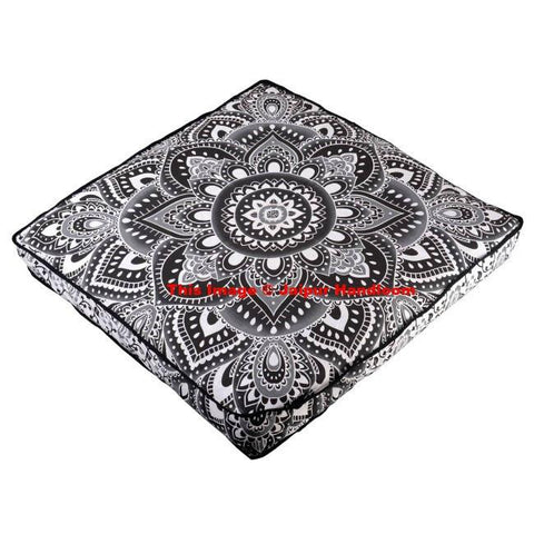 gray floral mandala floor pillows indian cotton floor cushion pouf ottoman-Jaipur Handloom
