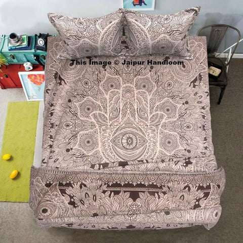 Gray Hamsa Hand Mandala Duvet Cover Set with Bed cover and pillows-Jaipur Handloom