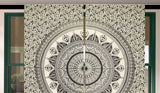 Gray Mandala Curtain Set Boho Indian Tapestry Window Hanging Door Drapes-Jaipur Handloom
