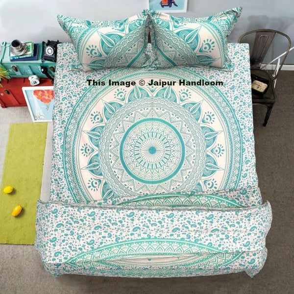green mandala 4pc donna cover set with cotton bedsheet and pillows-Jaipur Handloom