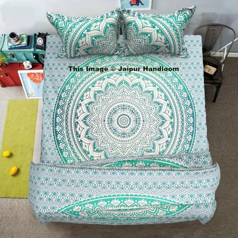 green mandala cotton 4pc comforter cover set with bed sheet and 2 pillows-Jaipur Handloom