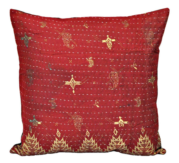 Hand Stitched Patchwork Kantha Pillow cases Decorative Kantha Cushions p73-Jaipur Handloom