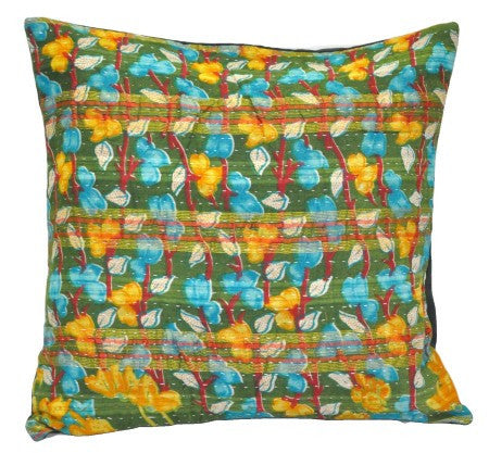 Hand Stitched Patchwork Kantha Throw Pillows For Couch Bedroom Cushions - p105-Jaipur Handloom