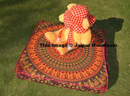 "indian camel printed cotton mandala floor cushions 35"" square pouf ottoman-Jaipur Handloom"
