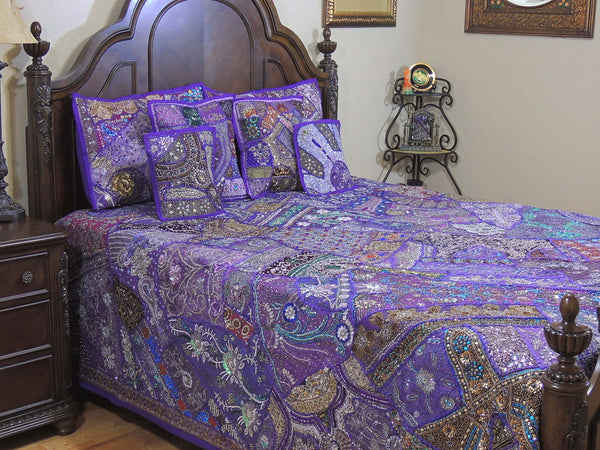 Indian Embroidered Vintage Queen Bed cover Applique Bohemian Bedding Set-Jaipur Handloom