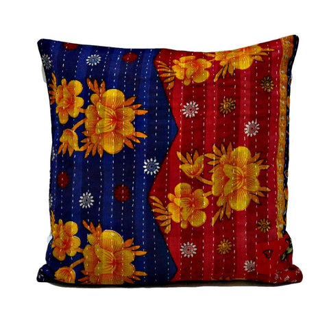 indian handmade bedroom cushions vintage kantha throw pillows for sofa - NS34-Jaipur Handloom