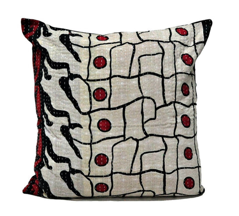 Indian Handmade Kantha Pillows For Outdoor Furniture Patio Cushions CL12-Jaipur Handloom