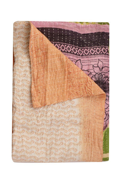 Indian Handmade Vintage Kantha Bedding Bedspread Quilted Sofa Throw-Jaipur Handloom