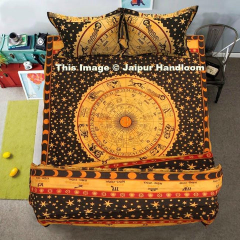 indian horoscope mandala duvet cover set with bedsheet and pillows-Jaipur Handloom