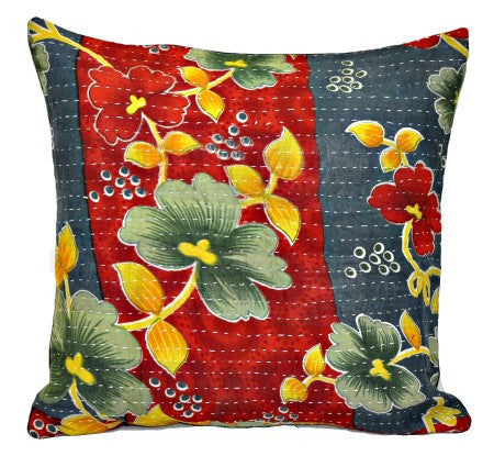 indian kantha pillow covers decorative sofa cushions boho bedroom cushions p81-Jaipur Handloom