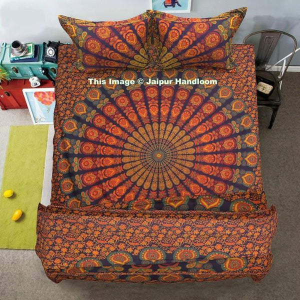 indian mandala 4pc quilt cover set with bed cover and matching pillows-Jaipur Handloom