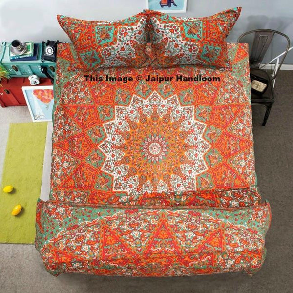 Indian mandala cotton bedding set with duvet cover bedsheet and pillows-Jaipur Handloom