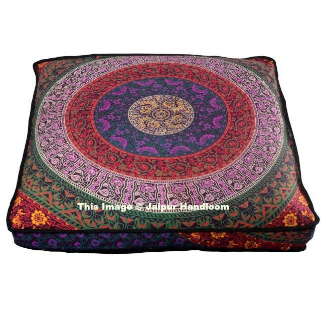 Indian Mandala Square Floor Pillow Boho Outdoor Ottoman Pouf Cover