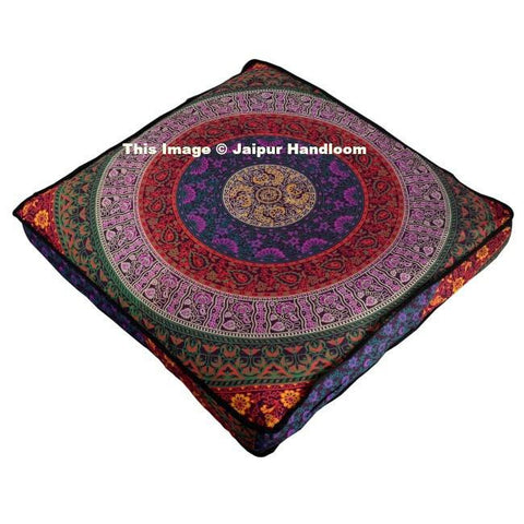 Indian Mandala Square Floor Pillow Outdoor Ottoman Pouf Cover Meditation Throw-Jaipur Handloom