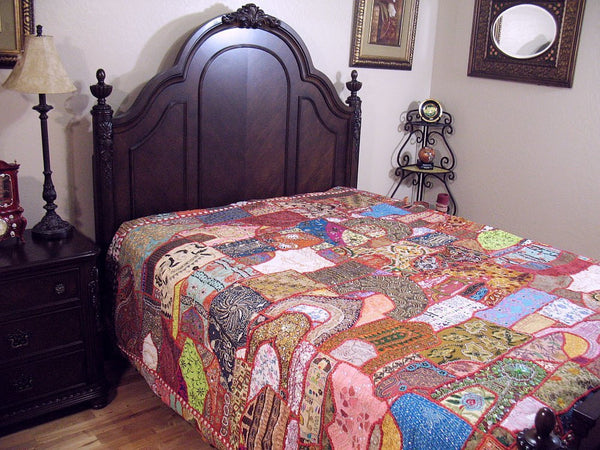 Indian Patchwork Vintage Sari Queen Bedding set with pillow cases and cushions-Jaipur Handloom