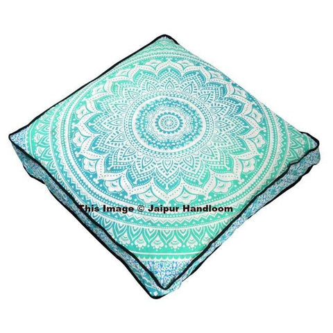 "Indian Square Mandala Pillows Ombre Floor Cushion Covers Pouf Ottoman Throw 35""-Jaipur Handloom"