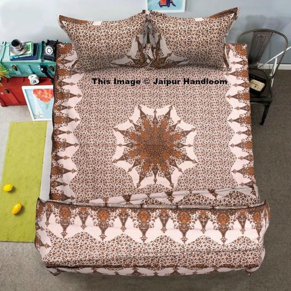 indian star mandala 4 pc bedding set with quilt cover bed cover and pillows-Jaipur Handloom