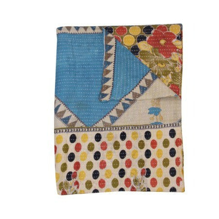 Indian Style Organic Applique Kantha Throw Bohemian Kantha Twin Blanket-Jaipur Handloom