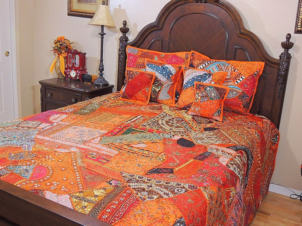 Indian Style Organic Embroidered Bedding Set Queen
