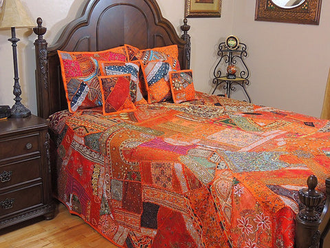 Indian Style Organic Embroidered Bedding Set Queen Patchwork Bed cover-Jaipur Handloom