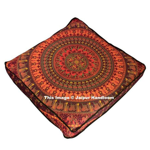 "indian tapestry red mandala floor cushions 35"" cute bohemian bean bag-Jaipur Handloom"