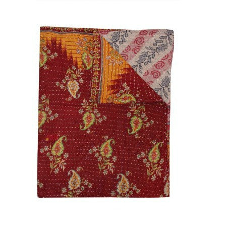 Indian Vintage Sari Kantha Gudri Bohemian Patchwork Kantha Quilt Throw-Jaipur Handloom