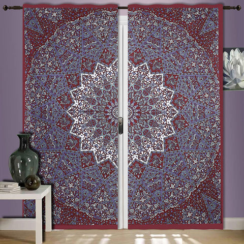 Maroon Elephant Stat Tapestry Curtain Window Hanging Bohemian Door Drapes Wall Hanging