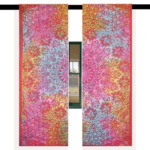 Maroon Tie Dye Window Hanging Cool College Room Tapestry Curtains-Jaipur Handloom