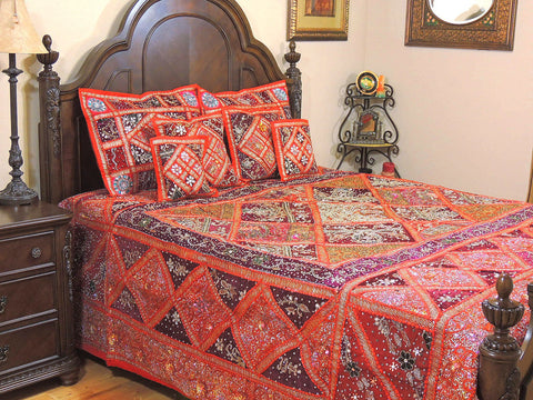 Orange Bohemian Patchwork Bedding set Indian Applique Queen Bed cover-Jaipur Handloom