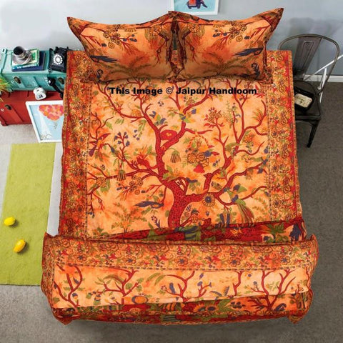 Orange tree of life bedding set with quilt cover bed cover and pillows-Jaipur Handloom