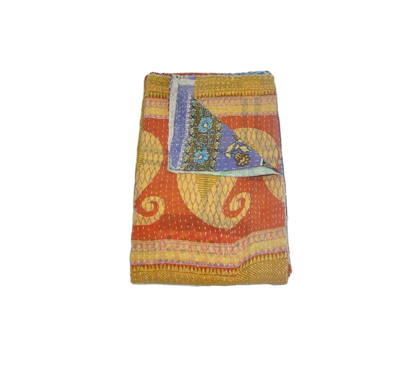Organic Kantha Throw Indian Fair Trade Vintage Kantha Quilt Bedspread-Jaipur Handloom
