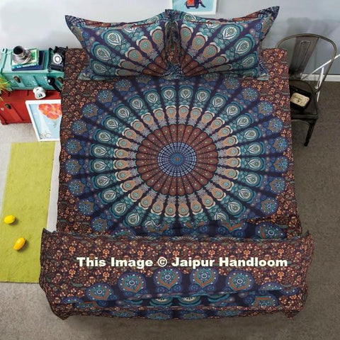 Peacock mandala 4pc bedding set with comforter cover bed cover and pillows-Jaipur Handloom