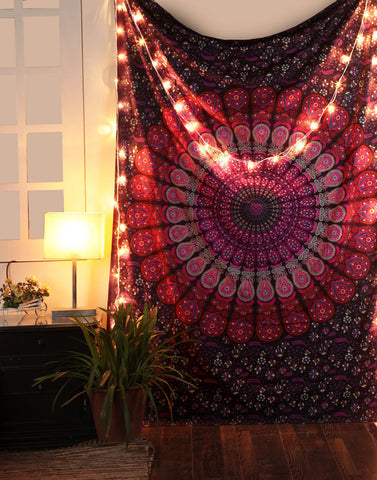 peacock mandala cool college wall tapestry hippie dorm room tapestries-Jaipur Handloom