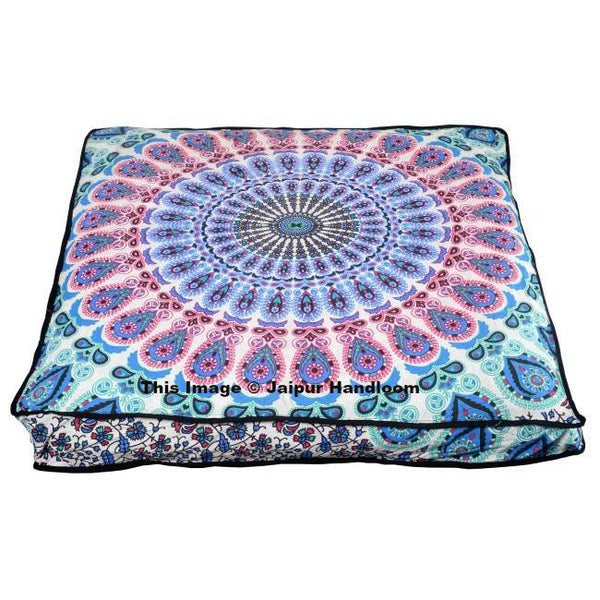 Peacock Mandala Floor Pillow Bohemian Indian Ottoman