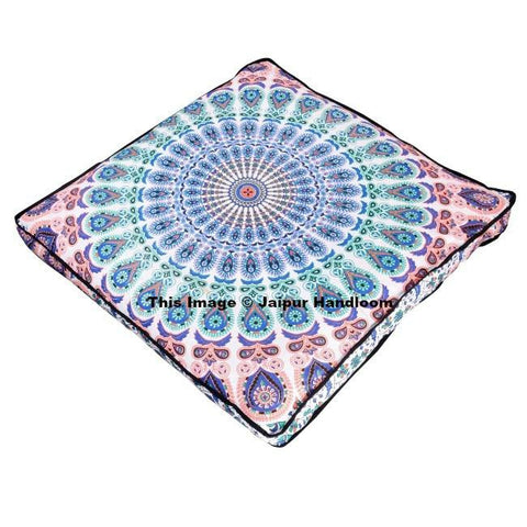 "peacock mandala tapestry bohemian floor cushions 35"" square floor pillow-Jaipur Handloom"