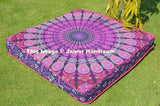pink and purple mandala floor pillows indian cotton square poufs ottoman-Jaipur Handloom