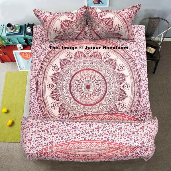 pink ombre mandala 4pc donna cover set with duvet bedsheet and pillows-Jaipur Handloom