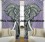 psychedelic elephant dorm room curtains indian cotton 2 panel door drapes-Jaipur Handloom