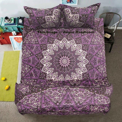 purple mandala duvet cover set with queen size bed cover and pillows-Jaipur Handloom
