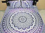purple ombre mandala bedding set with pillow cases indian queen duvet cover-Jaipur Handloom