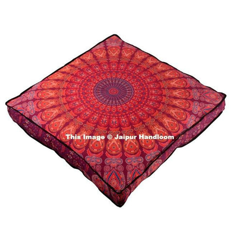 red mandala square floor cushion 35 inches indian pouf ottoman cover-Jaipur Handloom