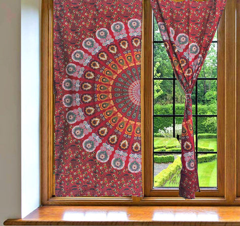 Good Red Mandala Tapestry Window Drapes Bohemian Indian Balcony Curtains