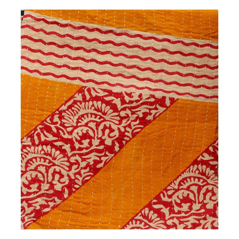 Shop online fair trade kantha throw on sale Vintage sari kantha blanket-Jaipur Handloom