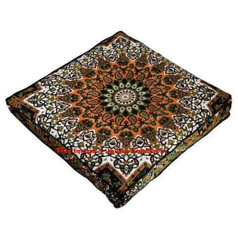 Star Mandala Square Floor Cushion cover Bohemian Indian Pouf Ottoman-Jaipur Handloom