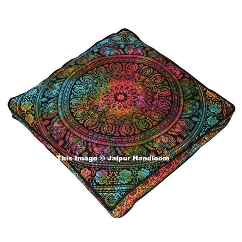 tie dye elephant mandala square floor cushion over sized cotton pouf cover-Jaipur Handloom