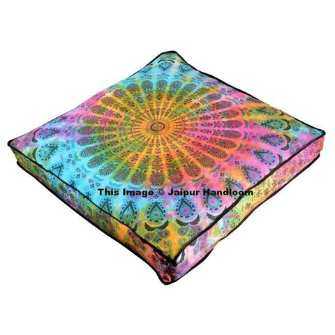 tie dye peacock mandala floor cushion indian cotton pouf ottoman cover-Jaipur Handloom