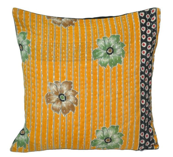 "tribal ethnic vintage kantha cushion cover boho bedroom pillows 16"" - 29-S-Jaipur Handloom"