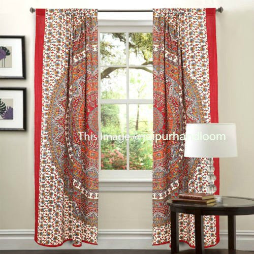 Trippy Dorm Room Curtains Bohemian Mandala 2 Panel Window Jaipur Handloom