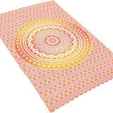 Twin orange ombre tapestry boho tapestry orange Mandala Tapestry for Dorm-Jaipur Handloom
